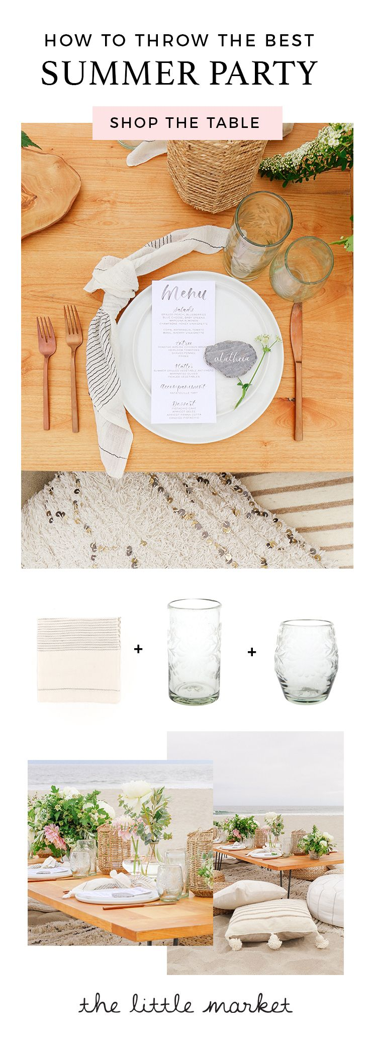 We love the sophisticated touch of our hand-etched glassware and chic pinstripe napkin to this summer dinner party from the Glitter Guide.