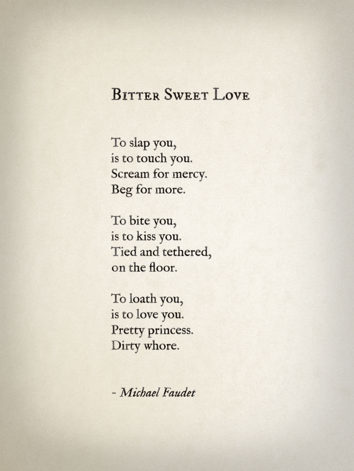 This reminds me of male schizophrenia of being the rapist and the protector: Bitter Sweet Love by Michael Faudet Follow him here.