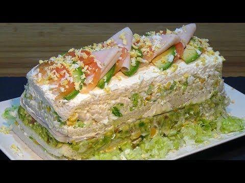 Receta Pastel frio de pollo o sandwichón de pollo - Recetas de cocina, paso a paso, tutorial - YouTube