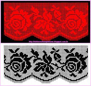 Filet häkeln crochet  Gardine Rosen curtain   Szydełkomania: Zazdroska