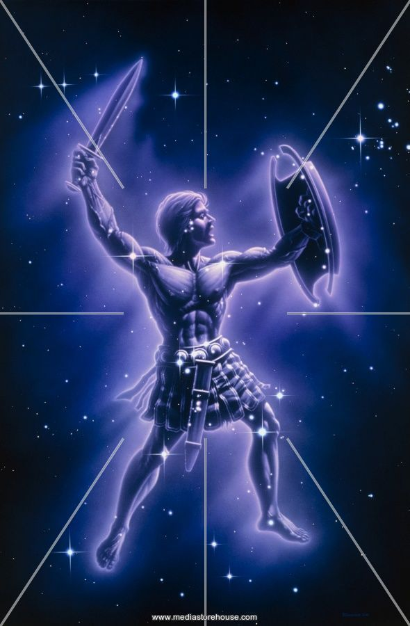 Orion constellation. Artwork of a human warrior overlaid ...