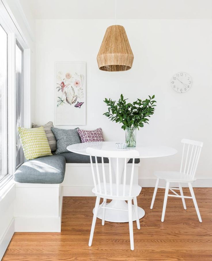 breakfast nook with clean boho vibes and cool rope pendant light