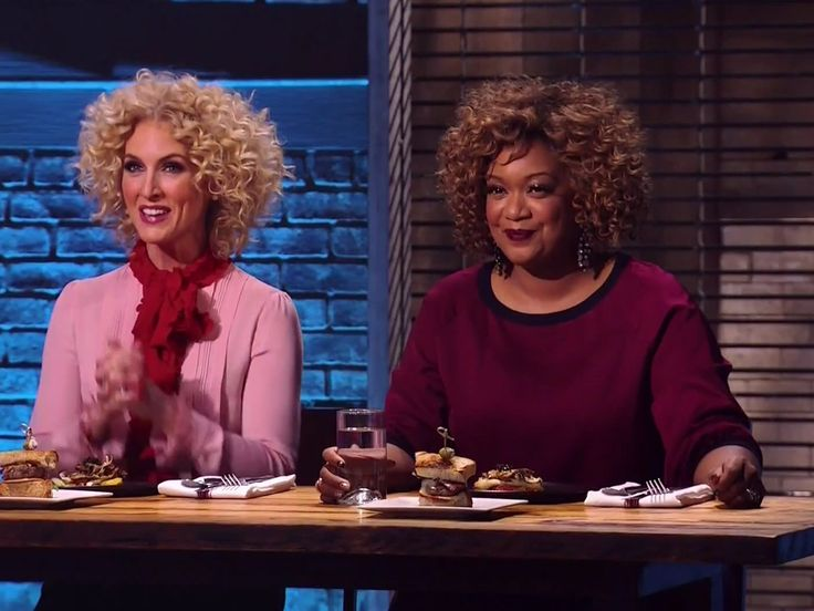 """Sunny Anderson's hairstyle  Watch Little Big Town's Kimberly Schlapman Get Competitive on """"Beat Bobby Flay"""""""