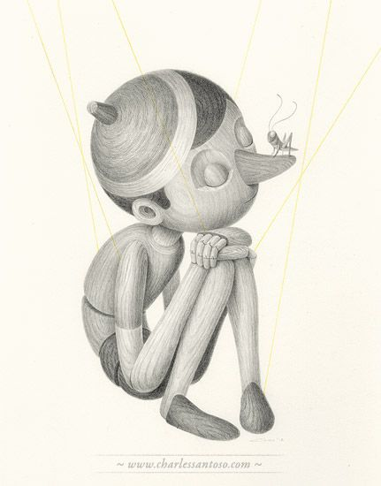 Half a Marrionette #illustration by Charles Santoso #Pencil on Arches Paper #pinocchio