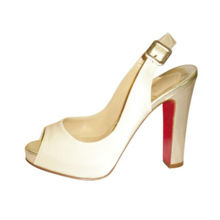 Christian Louboutin Gabine Special Occasion / Bridal Ivory silk Sandals