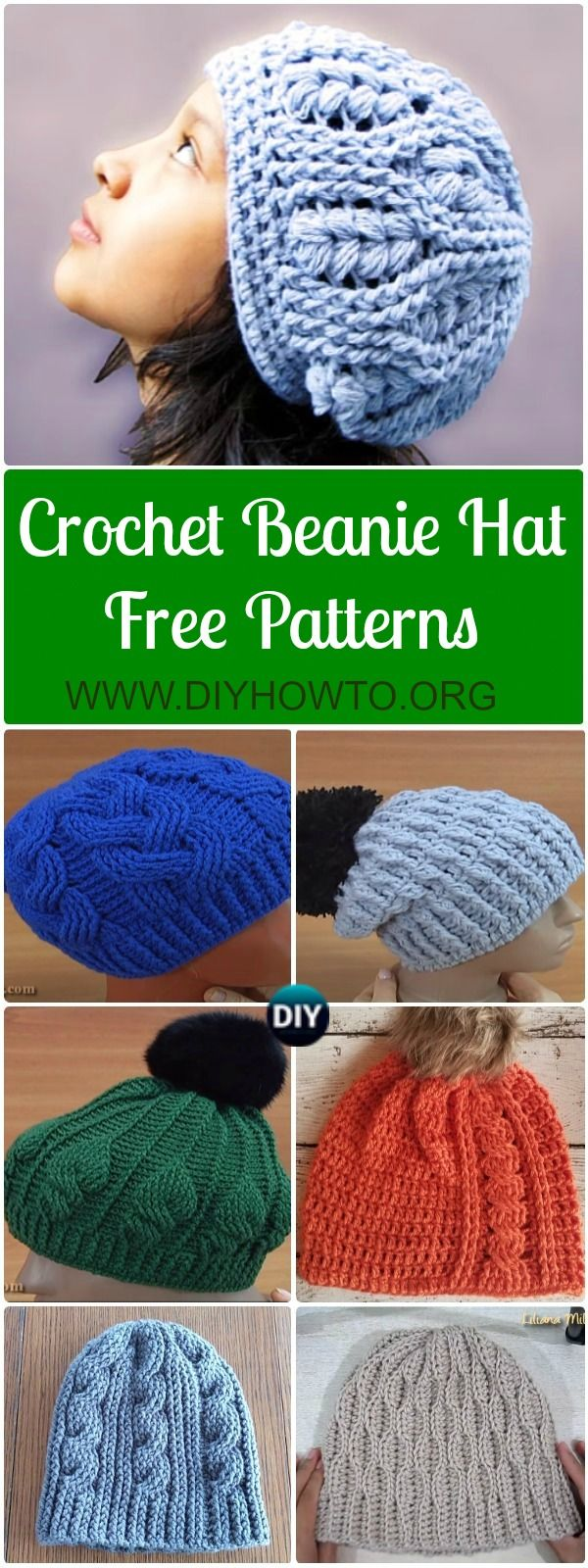Collection of Crochet Cable Hat Free Patterns: Crochet Cable Beanie Hat, Adult Hat, Textured Hat, Pom Pom hat, Winter hat