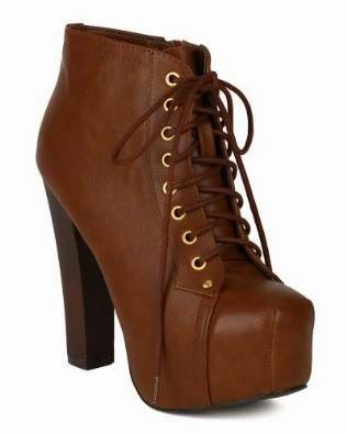 Shoes Breckelles Leatherette Lace Up Round Toe Platform Ankle Bootie