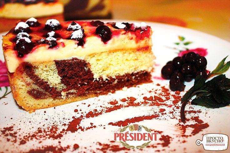 Просто&Вкусно - Выпечка - Пирог  «Зебра» с ванильным пудингом