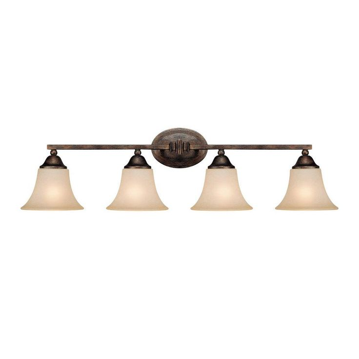 Filament Design 4-Light Rustic Vanity Light with Mist Scavo Glass