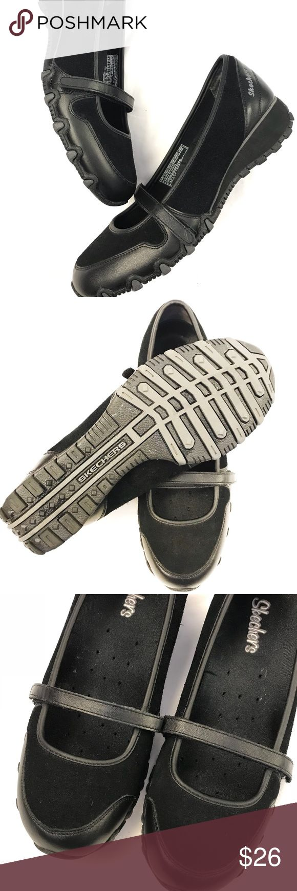 Skechers Casual Slip on Shoe Like new Skechers casual skip on shoe with suede and leather trims. Features a single strap over foot. Extra comfortable. Worn once, looks and smells new! Skechers Shoes Flats & Loafers