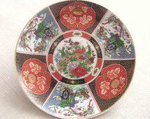 Vintage Oriental Style Porcelain Peacock Plate
