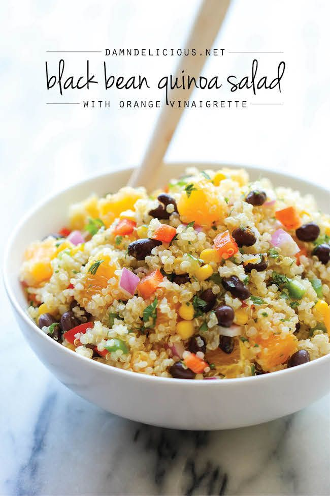 """Black Bean Quinoa Salad with orange vinaigrette recipe. Sounds delicious and ready in just 20 minutes. Wonderful ingredient combination.  Description """"light and healthy quinoa salad tossed in a refreshing orange vinaigrette, chockfull of protein and fiber!""""!!"""