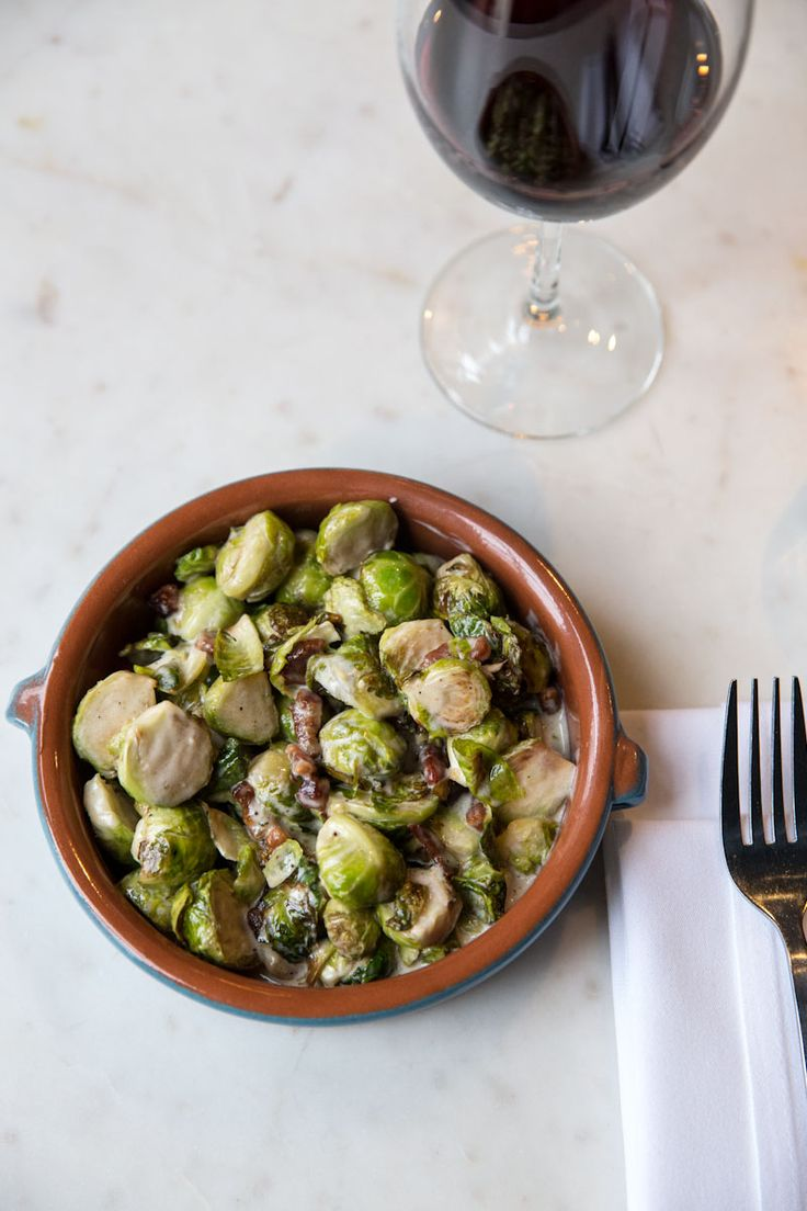 Finca SLC's 'Bruselas con Tocino' - Spanish Brussels sprouts with sherry cream and bacon. Great side dish for Xmas!