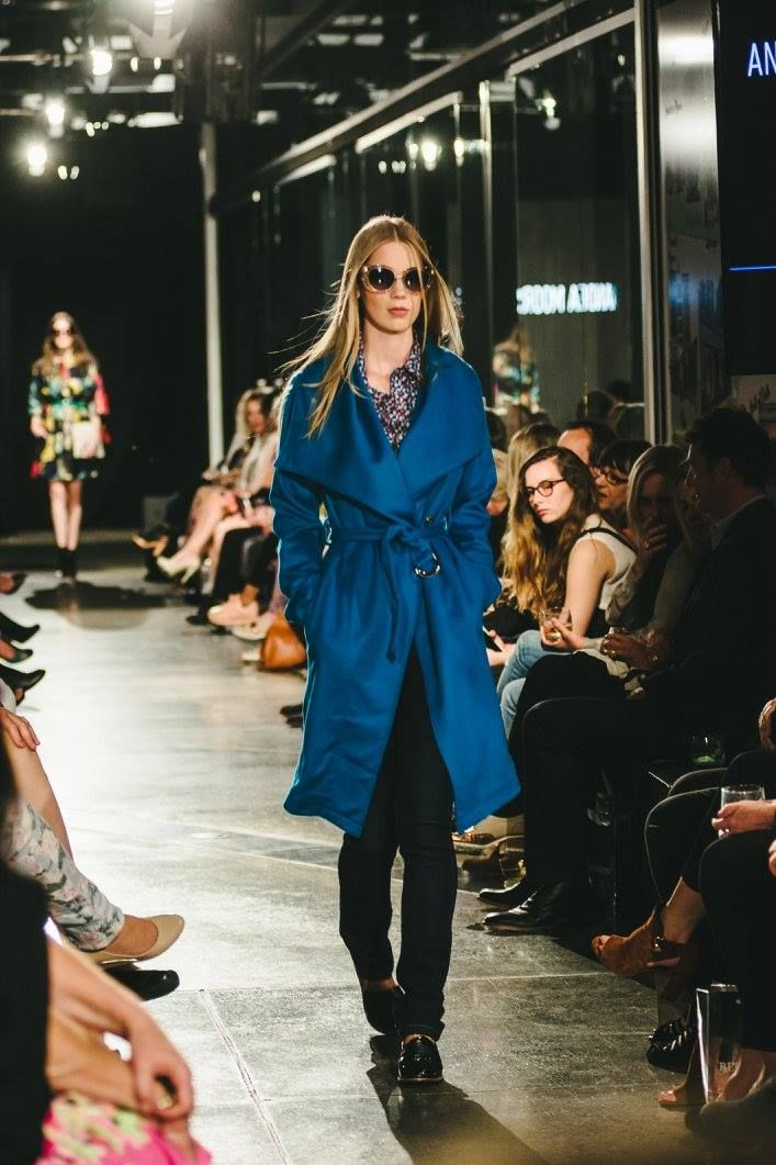 Looking to-die-for in this gorgeous blue winter coat from Andrea Moore
