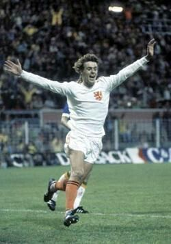 Holland 2 Brazil 0 in 1974 in Dortmund. Johnny Rep celebrates a Dutch goal in Round 2, Group A at the World Cup Finals.