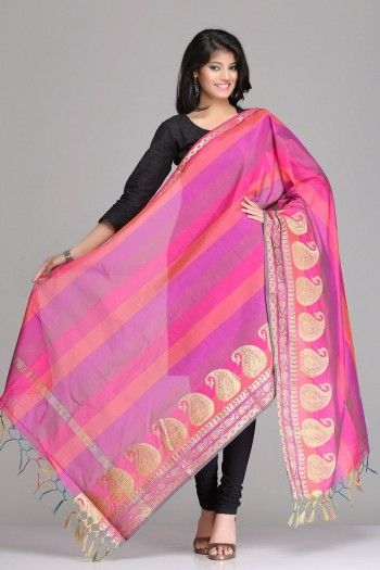 Pretty Pink & Purple Striped Chanderi Banarasi Dupatta With Gold Zari Paisley Motifs