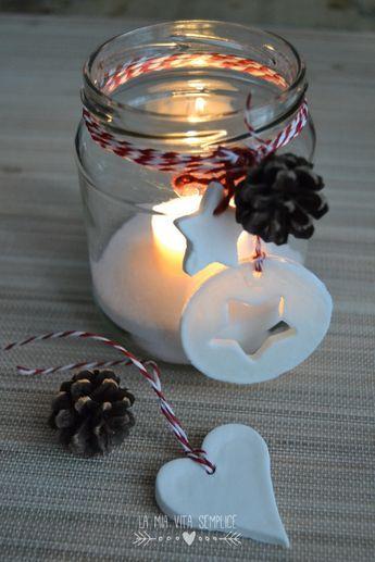 Come creare una lanterna di Natale con un barattolo di vetro riciclato, da decorare con la pasta modellabile al bicarbonato. Lanterna di Natale fai da te.