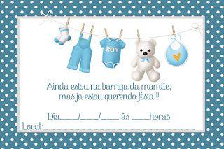 Convite para Chá de Bebê Grátis editáveis 2 - Cantinho do blog