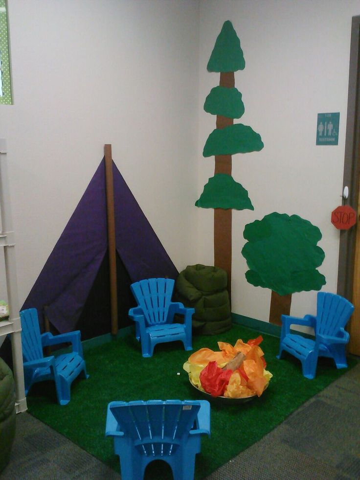 Camping Classroom theme. We will be reading by the campfire all year! (Chairs from Walmart, AstroTurf from Home Depot, fire wood and fire colored tissue paper, butcher paper tent and trees )