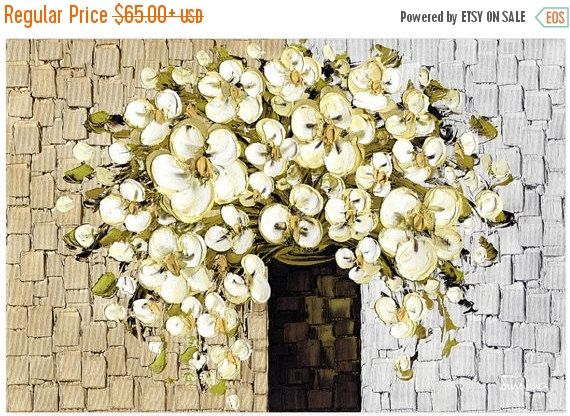Canvas PRINT White Blossom Floral Fine Art Abstract Still Life impressionist Home Decor Flowers Bouquet Vase Canvas Gold Silver by Susanna