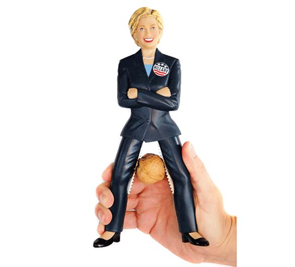 The Hillary Clinton Nutcracker is really quite what it sounds like, a figurine of Hillary Clinton that allows you to squeeze her legs to crack a nut in between them, and is most certainly not a pun fo...