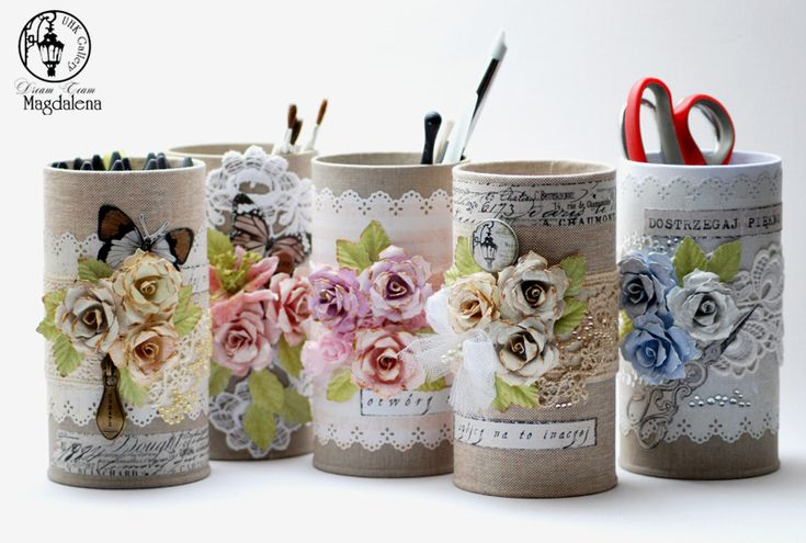 Recycle tin cans for organizing