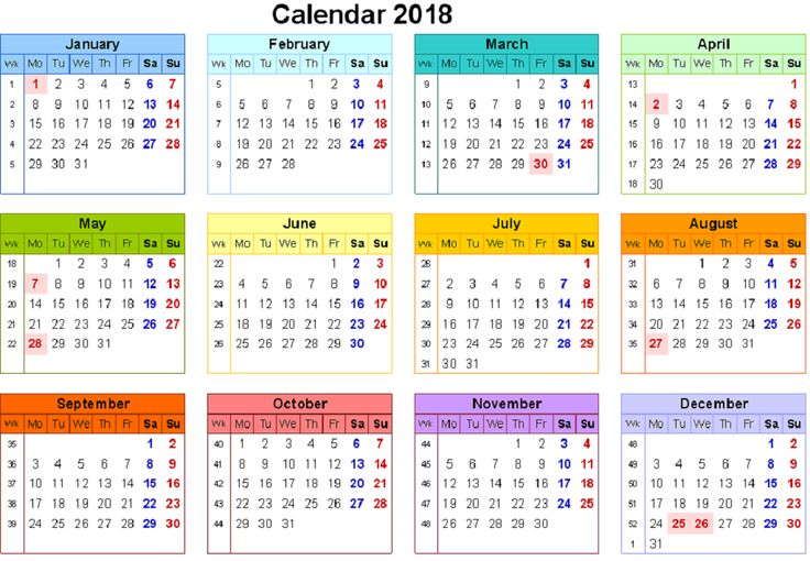 12 Month Calendar 2018 Printable things I like in 2018 Calendar