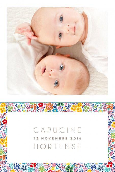 faire-part de naissance jumeaux mille fleurs - pour www.fairepartnaissance.fr (Demandez vos échantillons gratuits !)