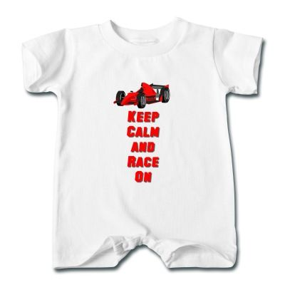 Keep Calm and Race On says it all. A must have for any racing fan big or small.