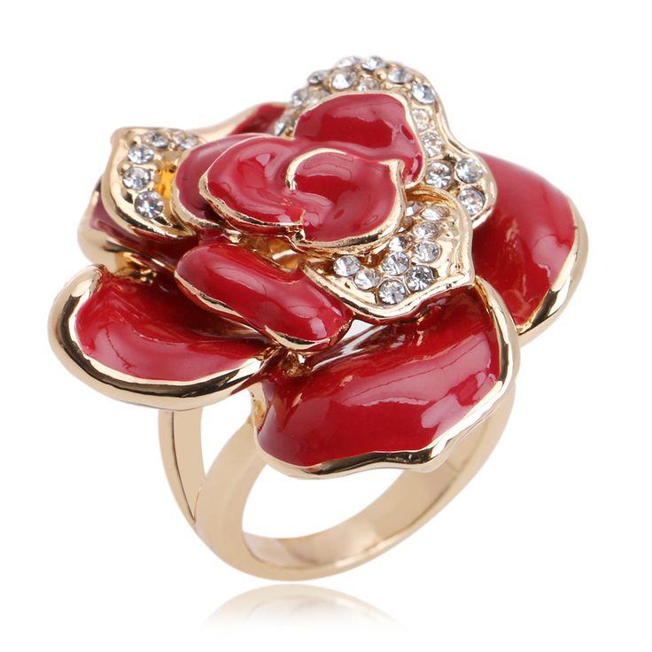 Anéis de turquesa Vermelho Flor Mulheres Anel de Cristal Austríaco 18 k White Gold Chapeamento