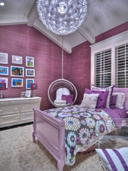Purple Bedroom Decor Ideas With Ceiling Swings And Ball Decorating Ideas  2016