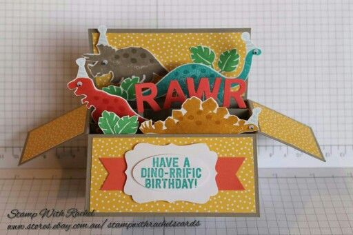 Stampin up No bones about it stampset. Card in a box I made using the super cute dinosaur stampset!! STAMP WITH RACHEL