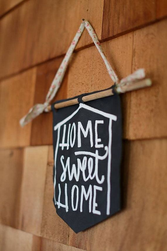 Home sweet home wall hanging, navy leather banner hand painted in white acrylics, hipster home decor, fiber arts