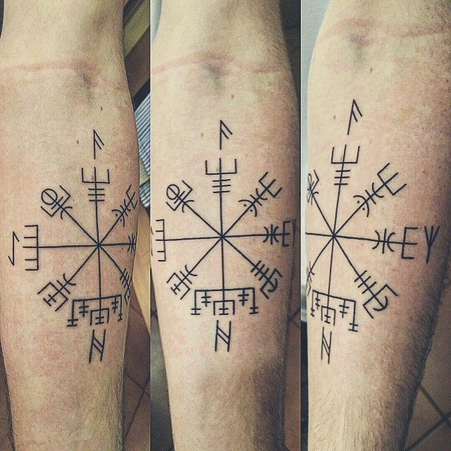 First Tattoo | Vegvisir w/ Ansuz, Algiz, Hagalaz and Eihwaz ...