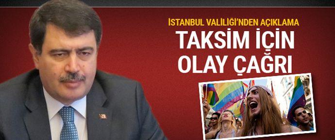 İstanbul Valiliği, LGBTİ'nin yarın Taksim Meydanı'nda yapmayı planladığı yürüyüşe izin verilmeyeceğini açıkladı.