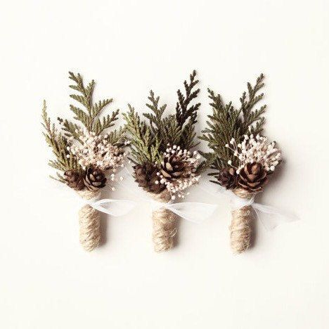 ** NEED MORE than I have listed here? I am always making more of these and just list what I have on-hand and ready to ship out. I can definitely make as many as you need ... just drop me a message with how many and I will get the quantity up ASAP. Thanks! This cute woodland-style boutonniere creates a sweet and simple winter-inspired look. It features sprigs of dried natural cedar along with miniature pine cones and little group of ivory babys breath. It is wrapped up with jute twine and…