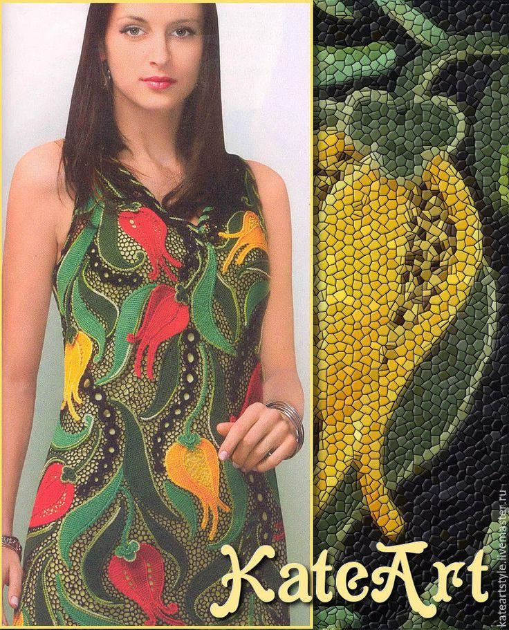 Купить Платье вязаное крючком в технике ирландского кружева Аленький цветочек - черный, цветочный