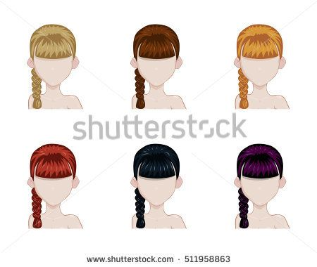 one plait hairstyle. Set of female hair style sprites. Vector game design for app