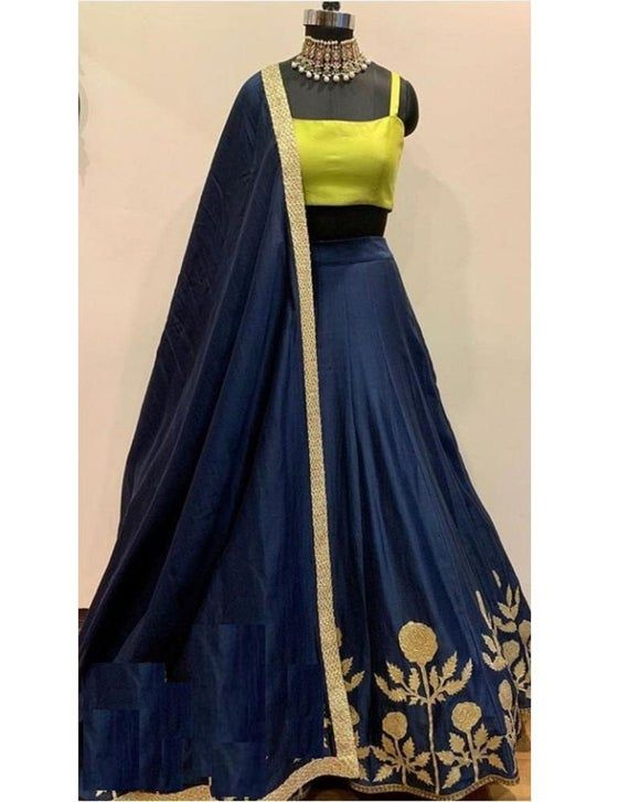 Navyblue Colore Bollywood Style Designer Embroidery Work With Lehenga Choli indian wedding wear for