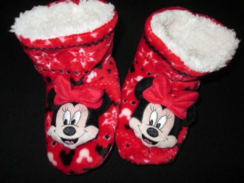 Kids-Boots-Slippers-Girls-Minnie-Disney-Fluffy-Soft-Warm-Childrens-Sz-9-12-NEW
