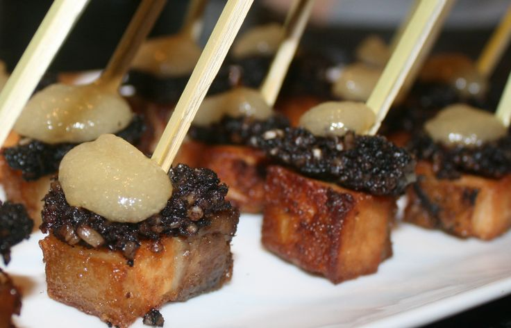 Pork belly, black pudding and pear purée canapés | Food by ...
