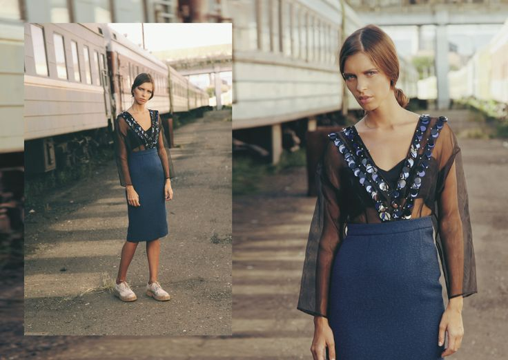 ANOUKI | Sheer black hand-embroidered organza and blue cotton dress.