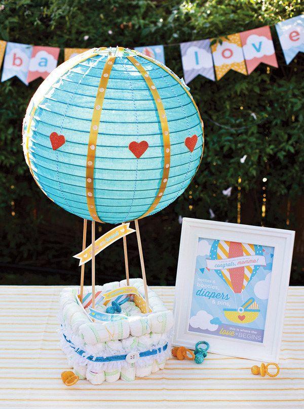 A diaper hot air balloon.   19 Stunning Diaper Cakes Anyone Can Make
