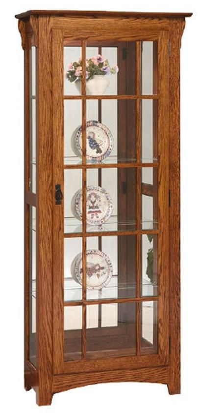 Hardwood Mission Curio Cabinet  Mt. Eaton Collection  Classic mission style furniture has remained popular over the years.  100 percent Amish-american made.