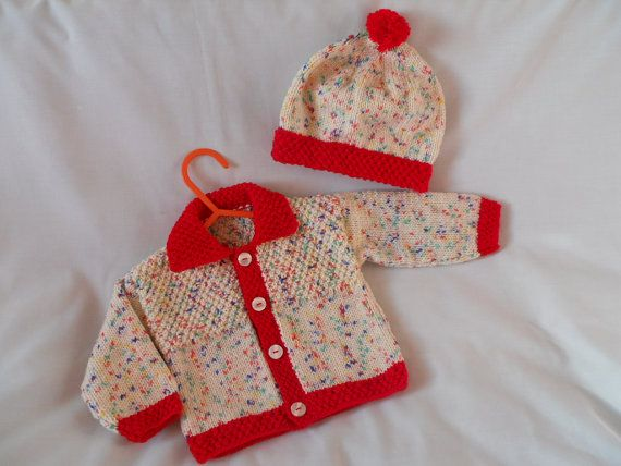 Hand Knitted Baby Boy Coat Jacket & Hat Set baby door littledazzler, £18.00