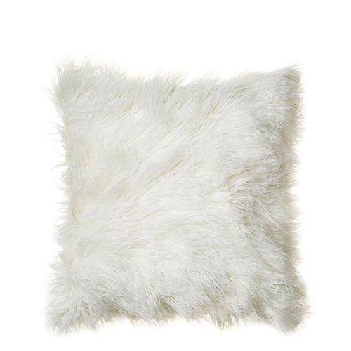 White Mongolian Fur Pillow 16x16
