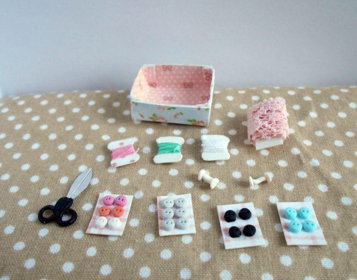 Miniature sewing supplies  #miniature #sewing #dollhouse #diy #handmade #sewingsupplies https://www.etsy.com/listing/254807787/dollhouse-sewing-desk-with-miniature?ref=shop_home_active_1