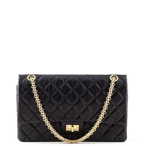 Chanel Black Aged Calfskin Reissue 226 Ghw Love That Bag Preowned Authentic Designer Handbags Chanel Bags Beautiful Bags