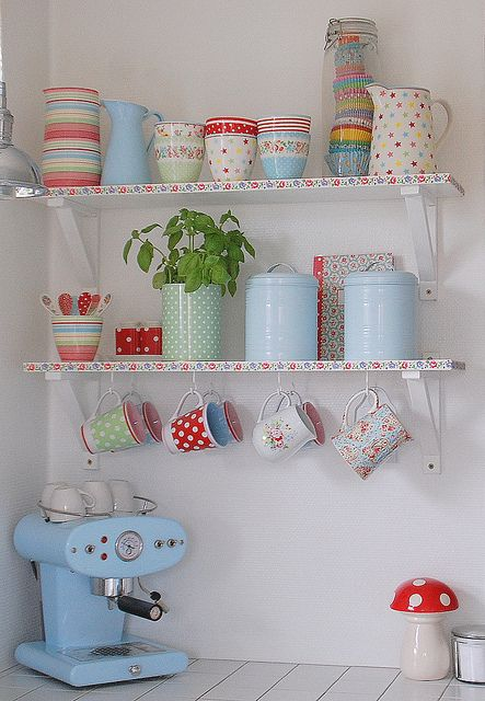Colorful vintage style kitchen wear, cute shelf border