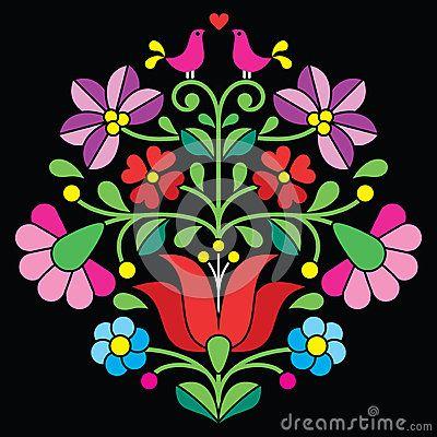 Bordado de Kalocsai - modelo popular floral húngaro en negro